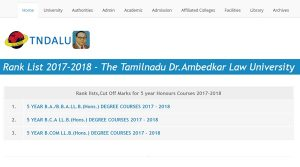 TNDALU Admission Rank List 2017 Cut off Marks Released  – Check Tamil Nadu Br Ambedkar University LLB LAW @ tndalu.ac.in