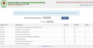 JNTUK 2-2 Results Oct/Nov 2017 Released for B.Tech (R13, R10) Supply Exams