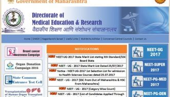 DMER NEET First/ 1st Selection Merit List 2017 Released – Download DMER UG NEET Merit List PDF @ dmer.org