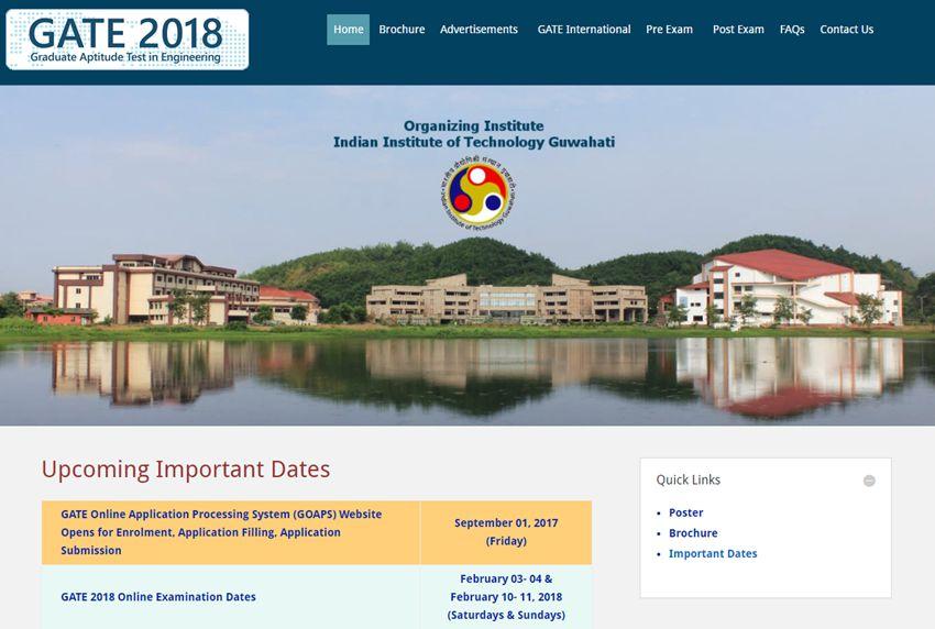 GATE 2018 Notification, Exam Dates