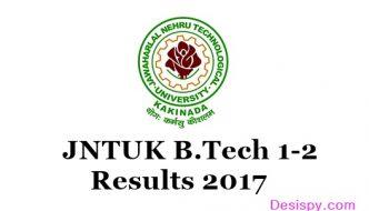 JNTUK B.Tech 1-2 (R16, R13, R10) Results 2017 Released For Regular/ Supply Exams May @ jntukresults.edu.in Link