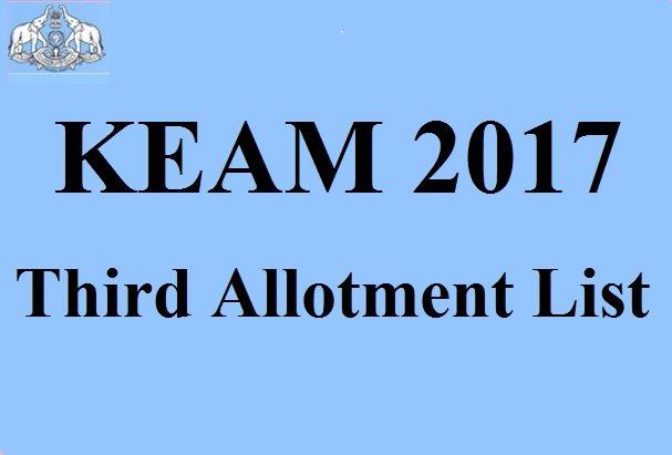 KEAM 3rd Allotment List 2017