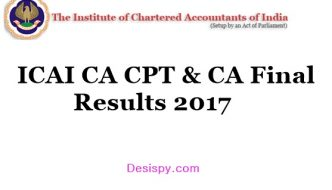 ICAI CA CPT Results 2017 & CA Final Results Released – Check CA Marks List & Pass Percentage icai.nic.in