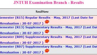 JNTUH B.Tech 2-2 Results 2017 Released For (R15, R13, R09, R07) Regular & Supply May Exams