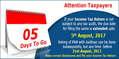 Income Tax Returns Filing Deadline Extended