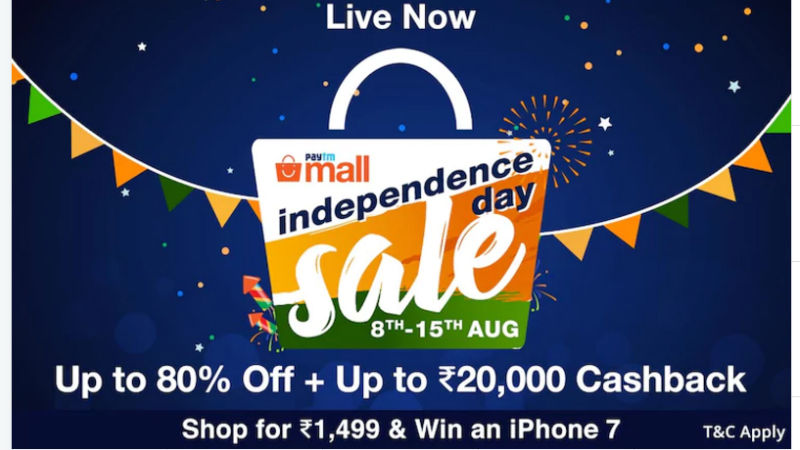 Paytm Mall Independence Day Sale 2017, Special Discounts & Cash Back Offers on Smartphones, Laptops, and More