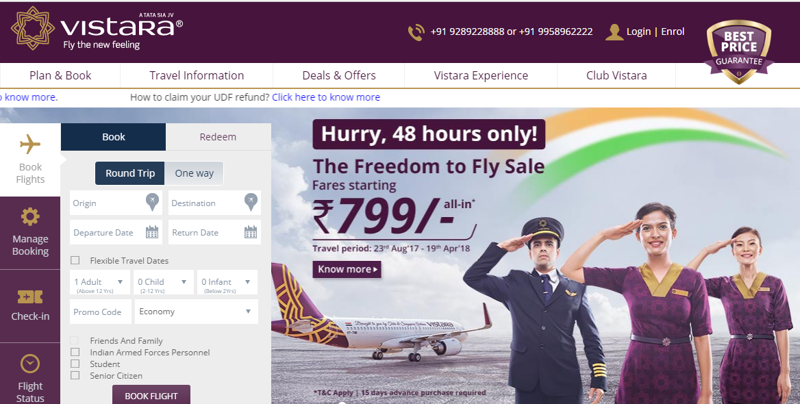Vistara Freedom to Fly Sale 2017 on 8th & 9th August – Ticket Booking Starting at Rs. 799