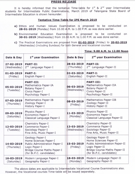 ts inter time table 2019