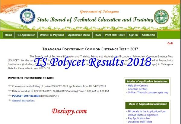 TS POLYCET Result 2018