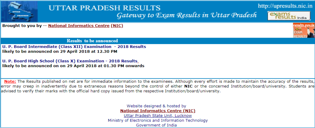 UP Board 10th & 12th Result 2018