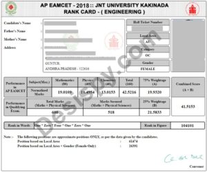 AP EAMCET 2018 Rank Card Download for Engineering, Agriculture and Medical @ sche.ap.gov.in